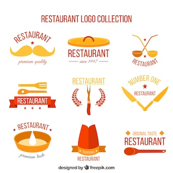 Packung restaurant-logos in flachem design