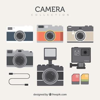 Packung retro-kameras in flachem design