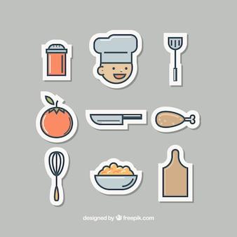 Packung schöne küchenaufkleber