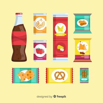 Packung snacks im flachen design