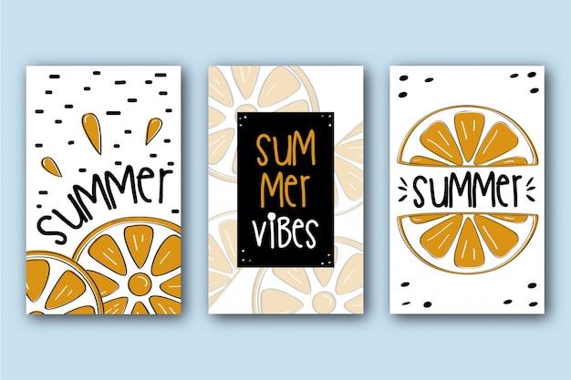 Packung sommerkarten mit orangen
