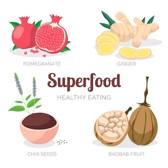 Packung super food für einen gesunden lebensstil