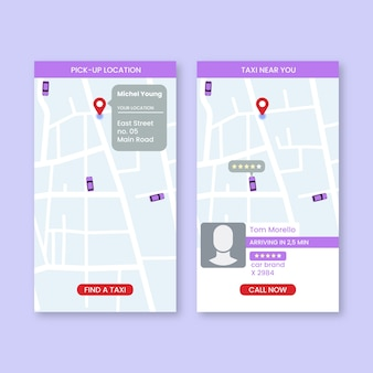 Packung taxi app-oberfläche