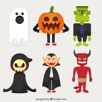 Packung vampir und andere halloween-figuren im flachen design