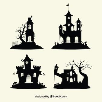 Packung verzauberte halloween-burgen