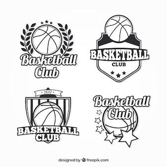 Packung von basketball abzeichen im retro-stil