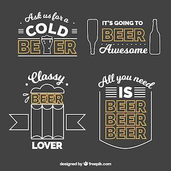 Packung von bieraufklebern im linearen stil