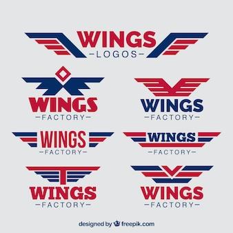 Packung von blauen und roten flügeln logos
