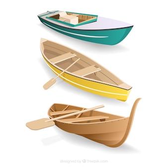 Packung von booten im realistischen stil