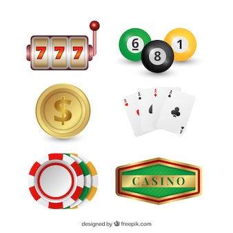 Packung von casino-objekten Kostenlosen Vektoren
