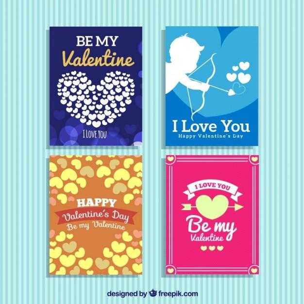 Packung von colores valentinstag-karten