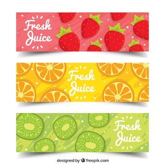 Packung von drei dekorativen bannern mit handgezeichneten früchten