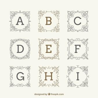 Packung von eleganten vintage monogrammen