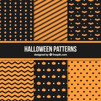 Packung von geometrischen halloween-mustern