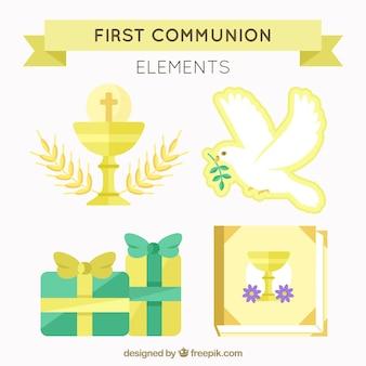 Packung von goldenen ersten kommunion-elementen