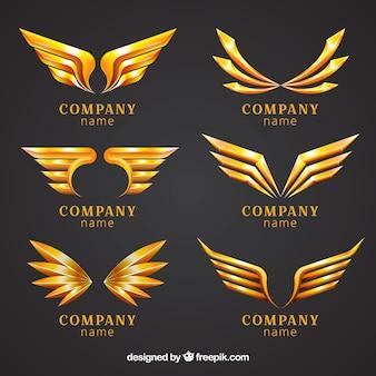 Packung von goldenen flügeln logos