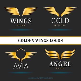 Packung von goldenen flügeln logotype