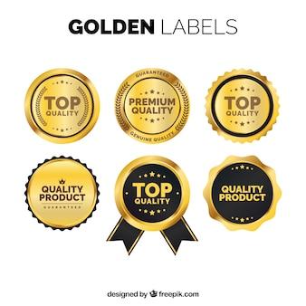 Packung von goldenen premium-aufklebern im vintage-stil