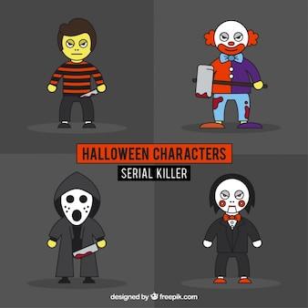 Packung von hand gezeichnet halloween-serienmörder