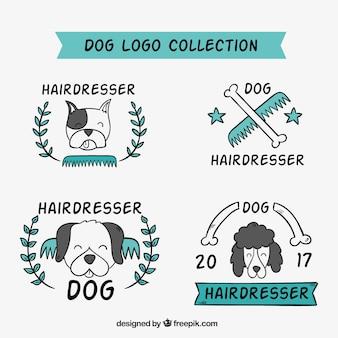 Packung von hand gezeichnet hund logos