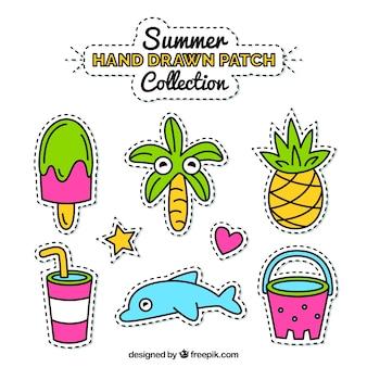 Packung von hand gezeichnet patches sommerlich