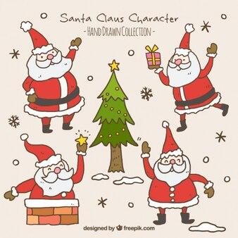 Packung von hand gezeichnet weihnachtsmann mit einem weihnachtsbaum