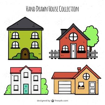 Packung von hand gezeichnete häuser