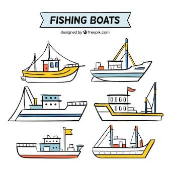 Packung von hand gezeichneten booten