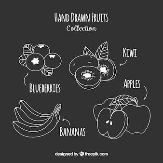 Packung von hand gezeichneten früchten