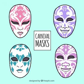 Packung von hand gezeichneten masken mit abstrakten design
