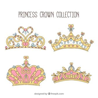 Packung von Hand gezeichneten Prinzessin Ornamenten