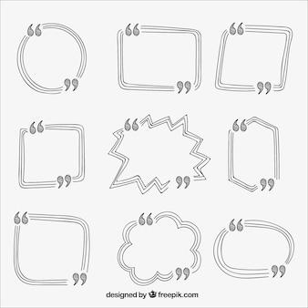 Packung von hand gezeichneten vorlagen nachrichten zu schreiben
