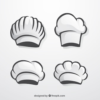 Packung von handgezeichneten chefhüten