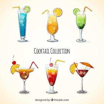 Packung von handgezeichneten cocktails