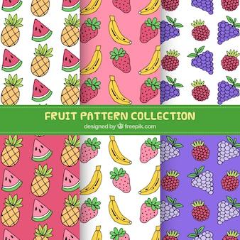 Packung von handgezeichneten fruchtmustern