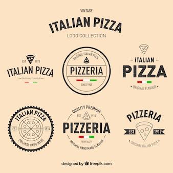 Packung von handgezeichneten pizza-logos im vintage-stil Premium Vektoren
