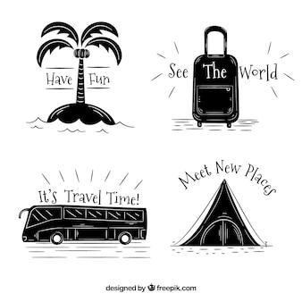 Packung von handgezeichneten reiseelementen mit meldungen