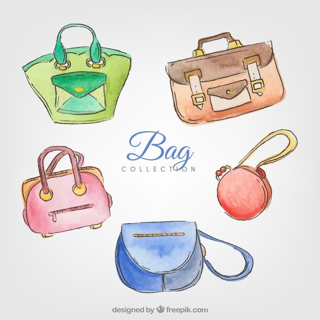 Packung von handtaschen aquarell frau
