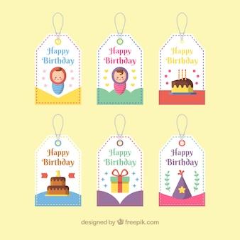 Packung von happy birthday labels