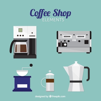 Packung von kaffeemaschinen in flaches design