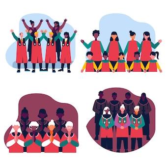 Packung von menschen, die in einem gospelchor singen