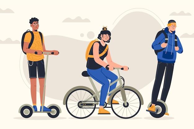 Packung von menschen, die verschiedene elektrische transportmethoden fahren