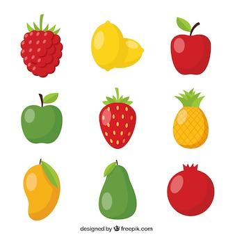 Packung von neun glänzenden früchten
