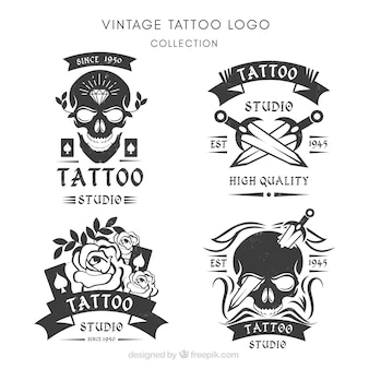 Packung von retro handgezeichneten logos