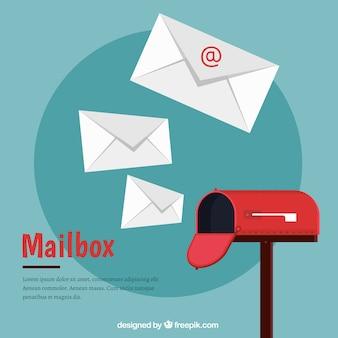 Packung von roten briefkästen in kubisch-stil