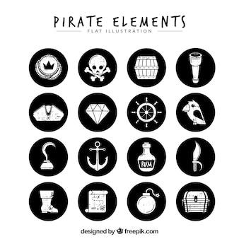 Packung von schwarzen kreisen mit retro-piraten-elementen