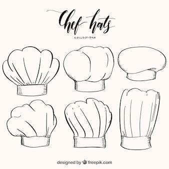 Packung von sechs handgezeichneten chefhüten