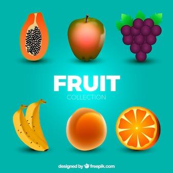 Packung von sechs realistischen früchten