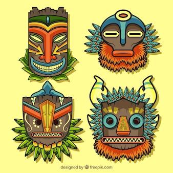 Packung von stammesmasken mit polynesischem stil