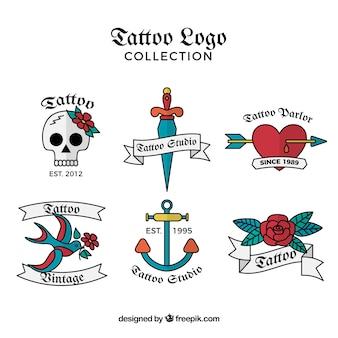 Packung von tattoos logos von hand gezeichneten farben